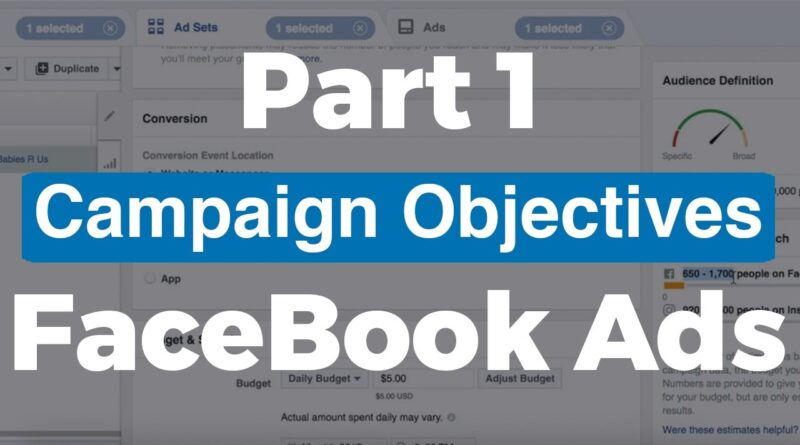 (Part 1) FaceBook Ads Training – Campaign Objective